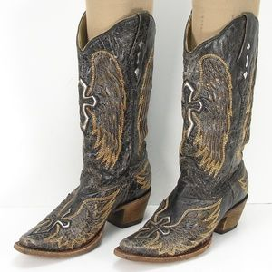 CORRAL VINTAGE ANGLE WING CROSS COWBOY BOOTS 8 M